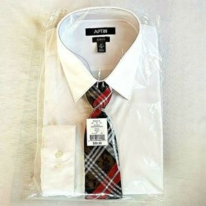Apt. 9 Shirts - Apt. 9 Dress Shirt Tie Men's White 18.5-19 34/35